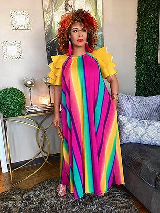 Rainbow Print Halter Maxi