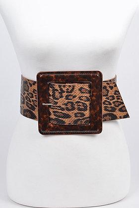 Leopard on Leopard Belt Big Buckle Belt