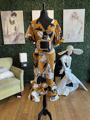 Tiered Ruffle Hem Chain Print Dress