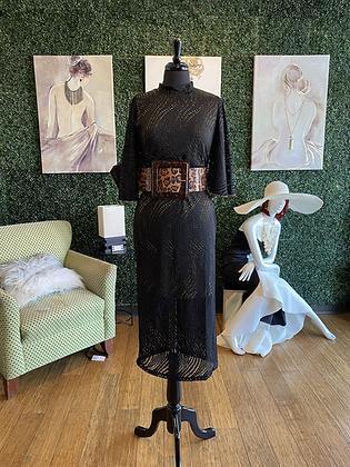 Sheer Pearl Dress Black & Gold