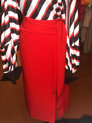 Thick Chick Red Front Slit Skirt