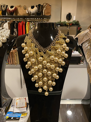 Cream Pearl & Rhinestone Layered Necklace With Matching Earrings