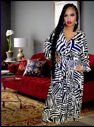 Cream Print Long Maxi Dress