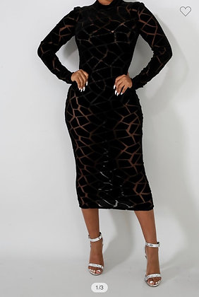 Unique Mesh Midi Dress Nice Fit
