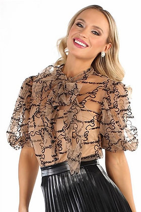 Brown Sheer Bow Top