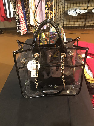 Clear Black Tote Bag