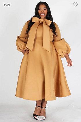 Tan Bow Dress