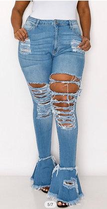 Blue High Rise Flare Tassel Jeans