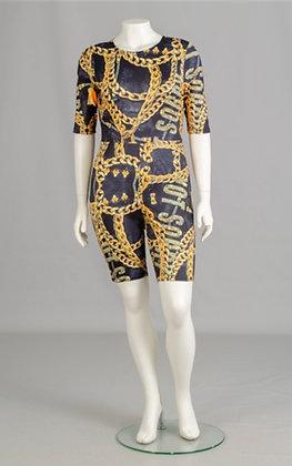 Print Plus Size Bodysuit Shorts