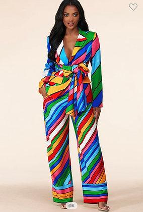 Bright Rainbow Stripe Print Blazer Set Regular