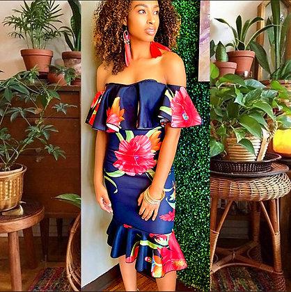 Red & Black Floral Print Off Shoulder Sexy Dress
