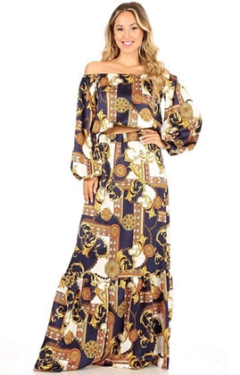 Print Off-shoulder Maxi Skirt 2pc Set