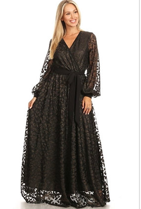 Sheer Sleeve Maxi Dress With A Hint of Gold