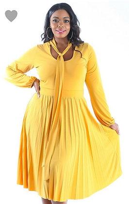Trendy Solid A-Line Midi Dress Yellow