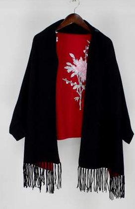 Black Flower Shawl