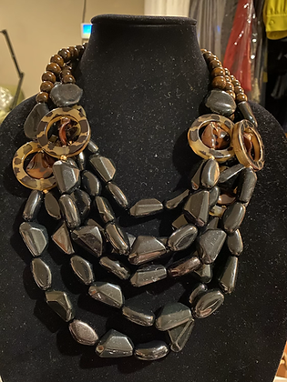 Dark Wood & Resin Necklace Set