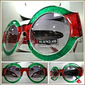 Classy Elegant Round Vintage Style Sunglasses- Red & Green