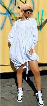 Oversize Tie Bottom Shirt Dress