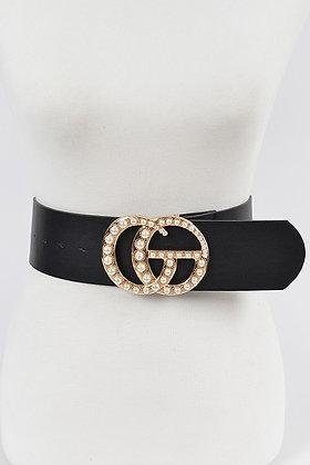 Faux Leather Wide Waist Belt Black Buckle Belt