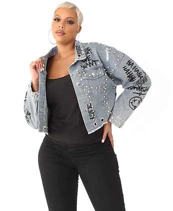 Cropped Embellished Denim Jacket