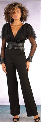 Sheer Sleeve Ruffle Faux Fur Waist Jumpsuit
