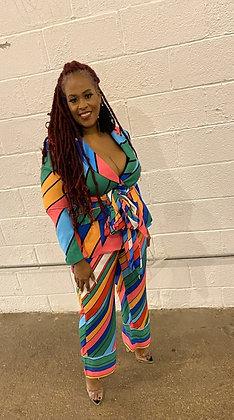 Bright Rainbow Stripe Print Blazer Set Plus