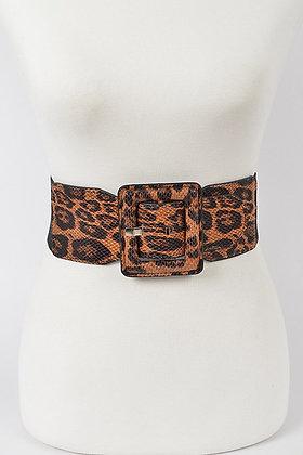 Leopard Elastic Big Buckle Belt (Will Fit PLUS)