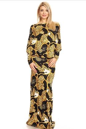 Print V-Neck Long Maxi Dress
