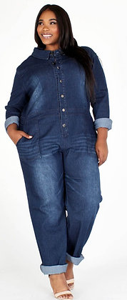Denim Plus Distressed One Piece Jeans Blue Jumper
