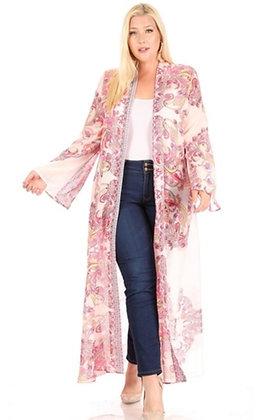 Pink & White Print Kimono
