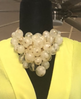 Cream Ball Glass  Necklace With Matching Earrings