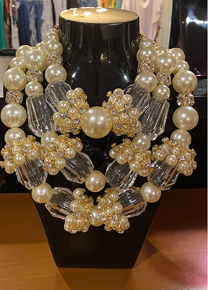 Glass & Pearl Bling Necklace With Matching Earrings