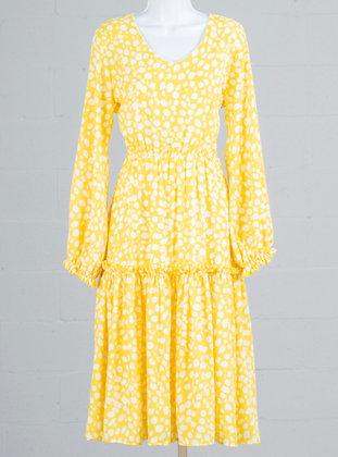Lemon Print Midi Maxi Dress