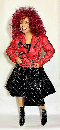 Faux Leather Studded Jacket Red