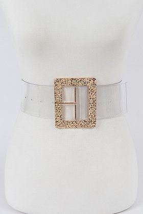 Glitter Metal Buckle Transparent Belt