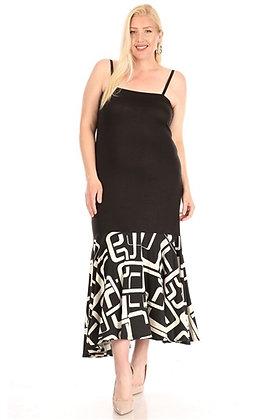 Spaghetti Strap Print Dress Black & White