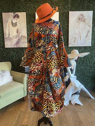 Multicolor Authentic African Print Bubble Print Dress