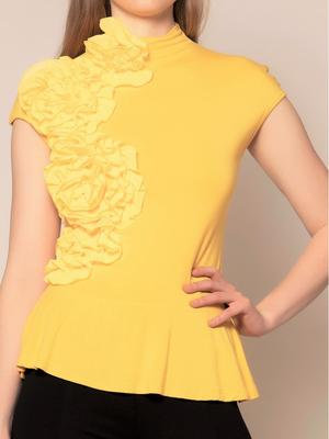 Turtle-Neck Sleeveless Top with Shirring Detail
