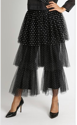 Mesh 3 Layered Polka Dot Wide Legged Pants