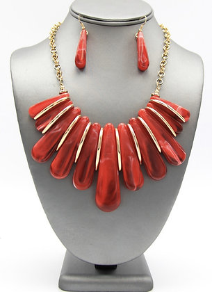 Marble Resin Red Statement Necklace