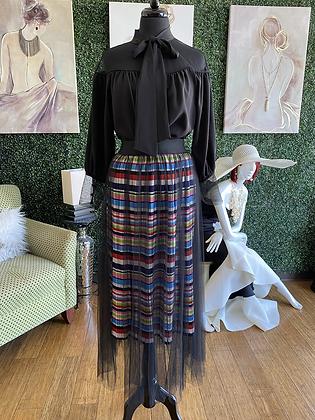 Multi Color  Stripe Skirt