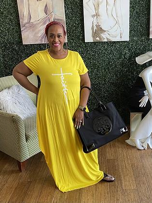 Short Sleeve Faith Knit Maxi Dress