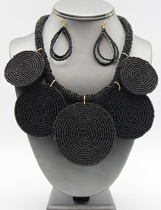 Seed-Bead Disco Black Statement Necklace