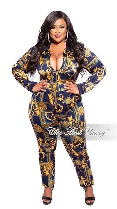 Print Zip-front Track Black & Gold Jumpsuit