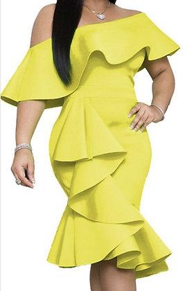 Off The Shoulder Ruffle Evening Yellow Dress