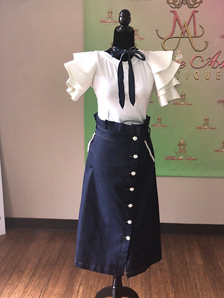Denim Bling and Pearl Embellished Skirt With Wrap Tie