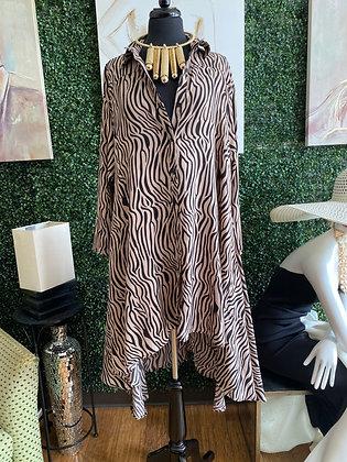 Keep it Classy Zebra Print Shirt Dress