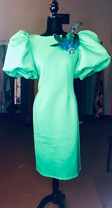 Trendy Solid Feather Scuba Dress Green