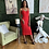 Thumbnail: Red Lace Up Body Conn Dress