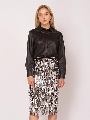 Faux Leather Long Sleeve Designer Shirt